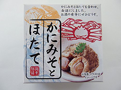かにみそとほたて70g蟹の甲羅ミソと帆立を合わせ缶詰にしました。カニ味噌独自の旨みとホタテのコラボ。