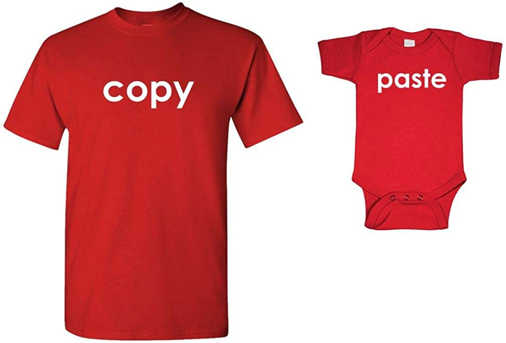 Copy - Paste Funny Cute - T-Shirt & Bodysuit Combo, MED Adult, 12M Baby, Red