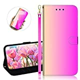 YiCTe Surface Mirror PU Leather Wallet Case for Huawei Y6 2019,with Stand,Card Slots,Wrist Strap,Magnetic Closure, Plain Color Flip Folio Thin Full Body Protective Cover,Gradient