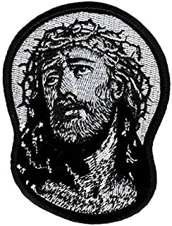 Hot Leathers, JESUS IN CROWN OF THORNS, Iron-On / Saw-On Rayon PATCH - 3