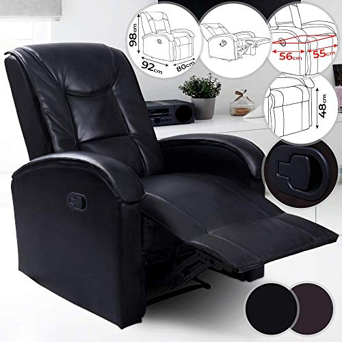 Sillón Relax con respaldo y reposapiés reclinable de piel sintética, acolchado, color a elegir (marrón y negro) – Sillón de TV, reclinable