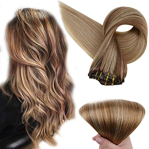Full Shine Clip In Hair Extensions Dip Dyed Balayage Color 10 Fading to 16 Highlighted 16 Blonde Human Hair Extensions 24 Inch Thick Hair Double Wefted Clip Ins 7 Pcs 100 Gram Per Set