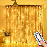 Opard LED Lichtervorhang 300LEDs, Lichterkettenvorhang 3M*3M IP65 Wasserfest 8 Modi Lichterkette Warmweiß für Party Schlafzimmer Innen und...