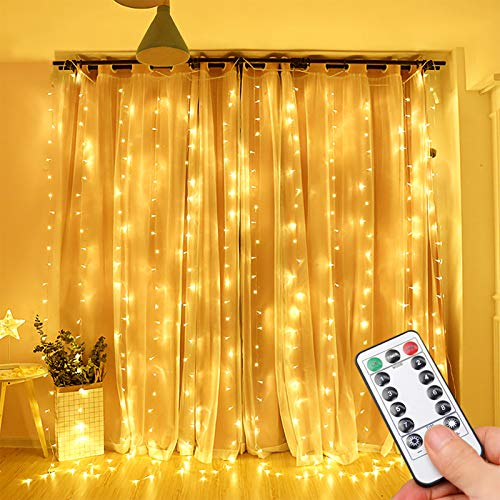 Curtain Lights, Opard Bedroom Window Lights 300LEDs 3m×3m Remote Control Timer 8 Lighting Modes Window Icicle Curtain Fairy Lights for Decoration Party Wedding Bedroom (Warm White)