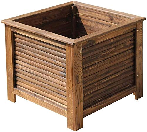 CDFCB Raised Garden Bed Planting box Planting Box Indoor Flower Plant Planting Container Drainage Hole Not Easily Deformed Garden Bed Kit 3 Sizes (Color : Brown Size : 65X65X56CM)-55X55X43CM_Brown