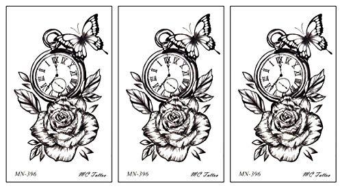 PARITA Small Tattoos Rose Butterfly Antique Clock Cartoon Temporary Tattoo for Adult Men Women Kids Fashion Tattoos Art Make Up Design Sexy Body Fake (Pack 3 PCS.) (10)