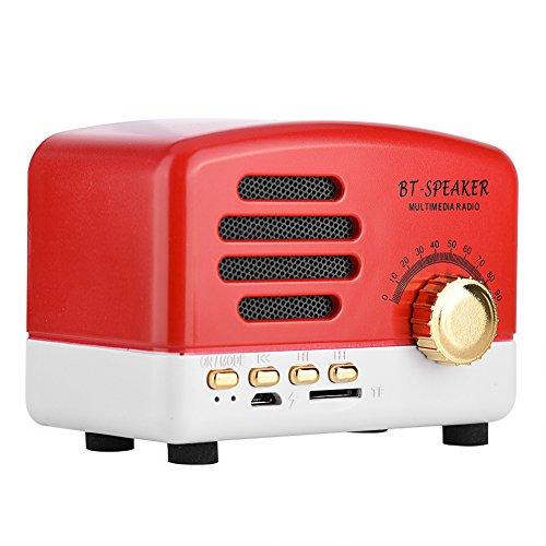 VBESTLIFE Altavoz Bluetooth Retro portátil, Radio FM de Escritorio Altavoz estéreo bajo de Madera con micrófono, Tarjeta USB TF de Soporte [Rojo]