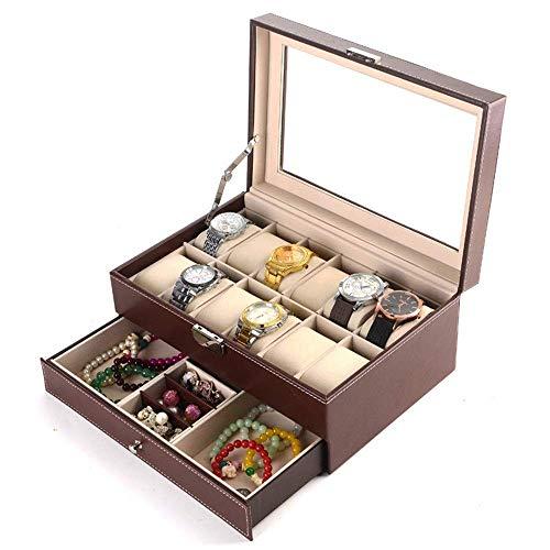 JIAJBG Caja de almacenamiento clásica de joyería de 12 dígitos doble reloj joyero de alta gama PU caja de almacenamiento de joyería 30 x 20 x 13 cm portátil/marrón / 30 x 20 x 13 cm