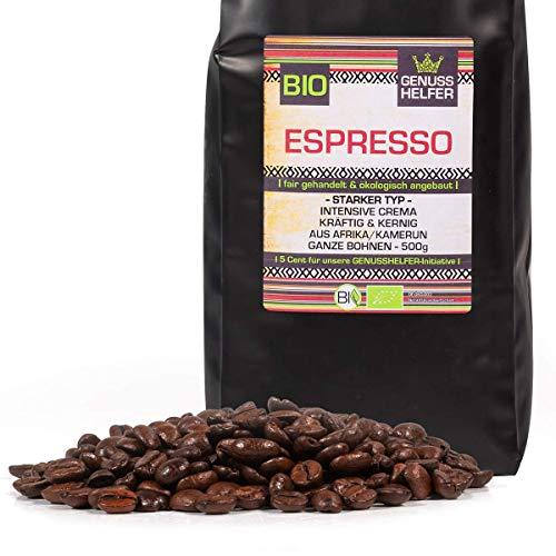 KÖNIGs Genussoffensive Fairtrade Kaffee, Espresso stark, ganze Kaffeebohnen, 70% Arabica - 30% Robusta, schonende Langzeitröstung, 500g - Bremer Gewürzhandel