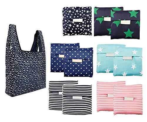 LABOTA 12Pcs Bolsa de la compra Plegable, Reutilizables bolsas de comestibles para Compras Ligero Bolsas de Supermercado