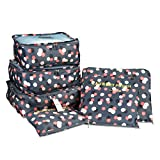 Packing Cubes, TTBD Set of 6pcs Luggage Organiser Waterproof Clothes Storage Bags with Laundry/Toiletry Bag for Travel or Household(Blue Daisy Pattern)