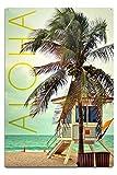 Lantern Press Lifeguard Shack and Palm, Aloha (12x18 Aluminum Wall Sign, Wall Decor Ready to Hang)