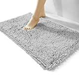 Luxury Chenille Bathroom Rug,17x24 inches,Extra Soft and Cozy, Non-Slip,Super Absorbent Water, Machine Wash Dry, Shaggy Chenille Bath Mats for Bathroom Bedroom,Grey
