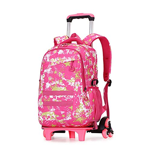 LINLIN Kids Trolley School Backpack Large Capacity Waterproof Removable Bookbag With 6 Wheels Canvas Luggage Daypack For Travel/Outdoor,Pink-Six wheels