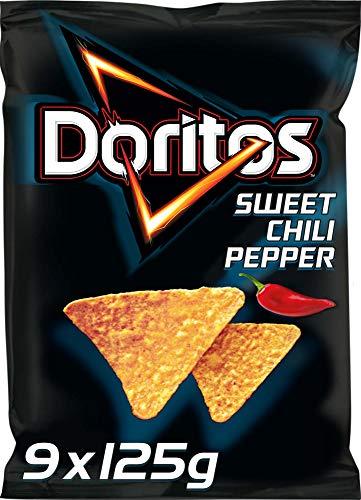 Doritos Sweet Chili Pepper - Tortilla Nachos mit süßem Chili - Herzhafter Snack zum Knabbern aus Mais - 9 x 125g
