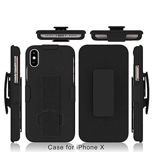 iPhone X Case, iPhone Xs Case, HLCT Combo Slim Shell Holster Case w/Built-in Stand Kickstand + Swivel Belt Clip Holster