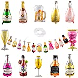 Collect Present Champagne and Wine Bottle Balloons  12 Foil Balloons with Beers & Cheers Banner  21st Birthday, Bachelorette and Engagement Party Decorations with Banner Ribbon