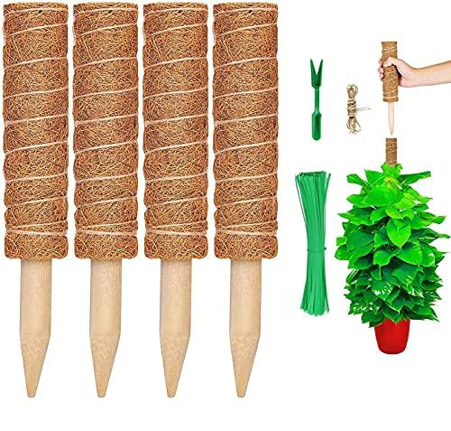 Chensensor 4 Stück Pflanzstab Kokos Rankstab Rankhilfe Blumenstab mit 10 Holzetiketten für Pflanzenname Pflanzzeit Kokosstab Stützpfahl Holz