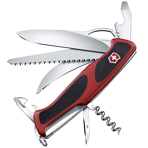 Victorinox Taschenmesser Ranger Grip 57 Hunter (13 Funktionen, Einhand-Feststellklinge) rot/schwarz