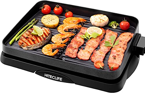 Indoor Grill Electric Nonstick BBQ Grill Smokeless 14 inch 1500W, Detachable Griddle Contact Grilling with Smart 5-Heat Temp Controller, Fast Heat Up Family Size Tabletop Plate PFOA-Free Black