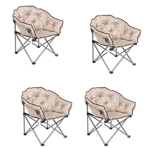 Mac Sports Foldable Padded Outdoor Club Chair with Carry Bag, Beige (4 Pack)