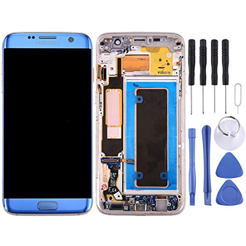 LUO lcd scherm vervanging Voor Galaxy S7 Edge / G935A LCD-scherm en Digitizer Volledige montage met Frame & Opladen Port Board & Volume Button & Power Button (Zwart) taizhan, Blauw