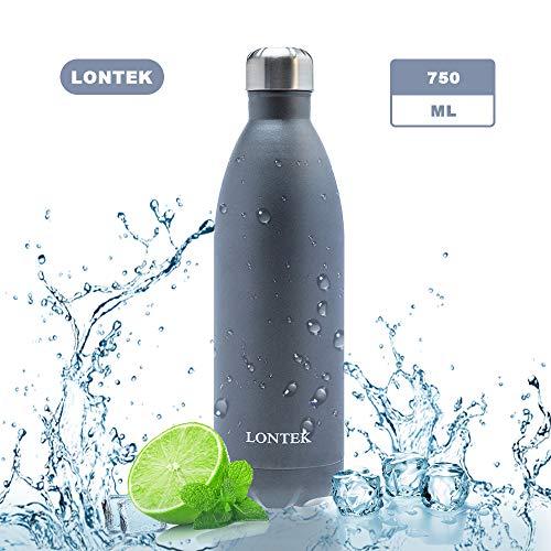 lontek 750ml Edelstahl Trinkflasche,BPA Frei auslaufsicher Vakuum Isolierte Thermosflasche,Grau,für Sport, Schule, Outdoor, Fahhrad, Fitness, Wandern und Camping