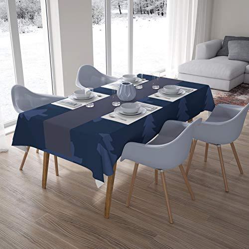Bonamaison Decoración de Cocina, Poliéster, Antimoho, Secado rápido, Impermeable, Mantel, Azul, 140 x 200 Cm - Diseñado y Fabricado en Turquía
