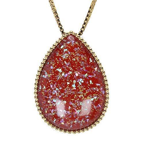 真珠の杜 水晶 ネックレス クォーツ SV925 シルバー925 銀 漆 ツユ しずく 朱色 赤色 金色 ペンダント メンズ 誕生石 4月 m-dpn658-641gps