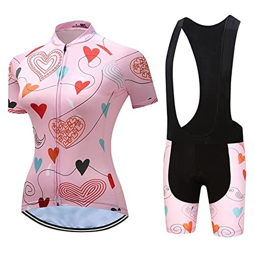 Graywlof Jersey de ciclismo para mujer, manga corta, ropa de ciclismo para mujer con acolchado de gel 9D, uniforme de manga corta, transpirable para bicicleta, color rosa (tamaño: pequeño, color: C)