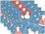 Mesllings Tovagliette Natalizie Fantasia Pupazzi di neve e Babbo Natale 1 Pezzo Antiscivolo Resistente al Calore per Tavolo Da Pranzo 12 x18 - Set di 4