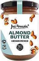 Jus' Amazin Creamy Almond Butter - Unsweetened (500g) | 25% Protein | Plant-Based Nutrition | 100% Almonds | Zero...