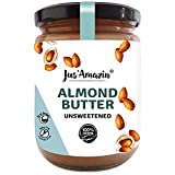Jus' Amazin Creamy Almond Butter - Unsweetened (500 g)   25% Protein   Plant-Based Nutrition   100% Almonds   Zero Additives   Vegan   Dairy Free   100% Natural   Keto