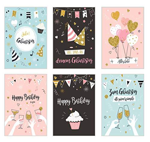 Edition Seidel Set 6 exklusive Geburtstagskarten mit Umschlag. Glückwunschkarte Grusskarte zum Geburtstag. Geburtstagskarte Karte Mann Frau Billet (20095)
