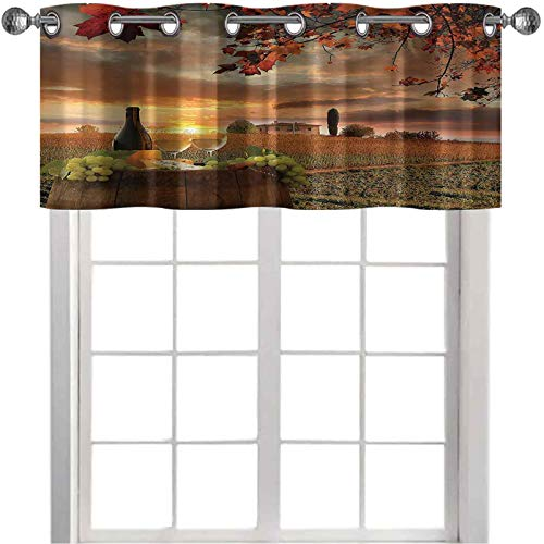 """Blackout Valance Curtain White Wine with Barrel on Vineyard at Sunset in Chianti Tuscany Italy Landscape Print 50"""" x 18"""" Curtain Valance Window Treatment for Kitchen Room Orange Green"""