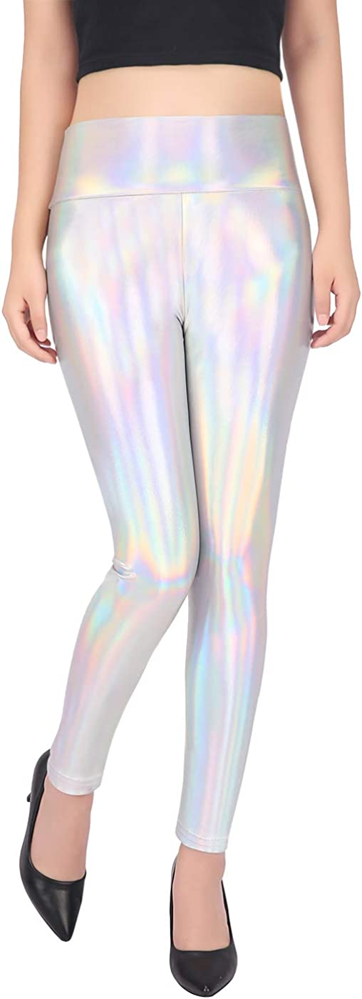 HDE Women's Max Sacramento Mall 55% OFF Shiny Holographic Leggings Pants Iri Liquid Metallic