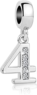 SexyMandala Mother's Day Lucky Number 1-9 Charm Pendant Dangle Bead with Cubic Zirconia Fit Pandora Bracelet Necklace
