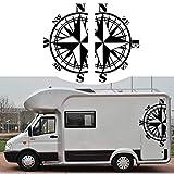 Mioloe 2 pièces Boussole Naviguer Autocollant Sticker pour Voiture Auto Camion SUV Mural Décalcomanie...