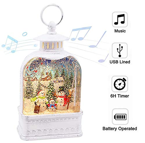 CaiFang Water Snow Globe Christmas Snow Glitter Globe Lantern Decor Musical Snow Globe with Swirling Glitter