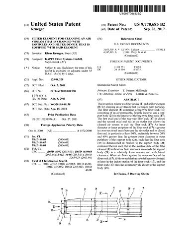 Filter element for cleaning an air stream that is charged with particles and filter device that is equipped with said element: United States Patent 9770685 (English Edition)