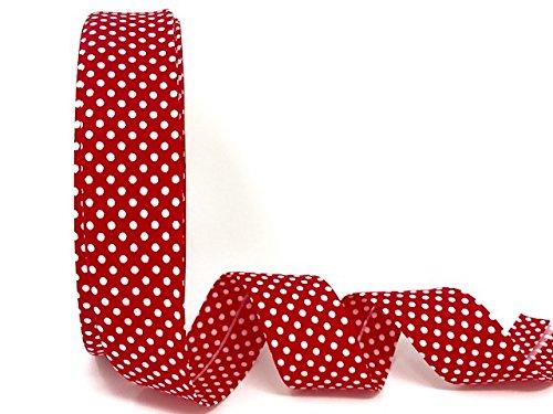 Rouge Polka Dot 30 mm Biais par Fany sur une longueur de 2 m (Note : CE est Coupé à partir d'un rouleau)