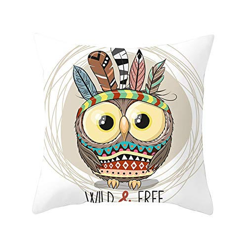 Funda de Cojines Cuadrada Búho Animal Marrón Cushion Covers Fundas de Almohada Funda Cojin Lino/Terciopelo melocotón Dormitorio Estar Sofá Cama Sillas Cojín Decoracion para Hogar Almohada para 45x45cm