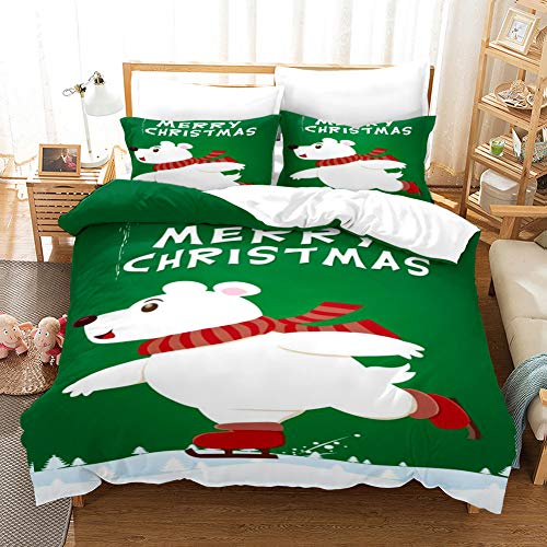 Duvet Cover Bedding Set White green brown red christmas skating animal dog Single 53.15 x 78.74 inch Ultra Soft Easy Care With–Hotel Quality Bedding Sets 2 Pillowcase19.68 x 29.53 inch