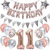 Ouceanwin Decoración de cumpleaños para niños de 11 años, color oro rosa, globos gigantes con el número 11, globos con texto 'Happy Birthday', banderines plateados, decoración de cumpleaños para niñas