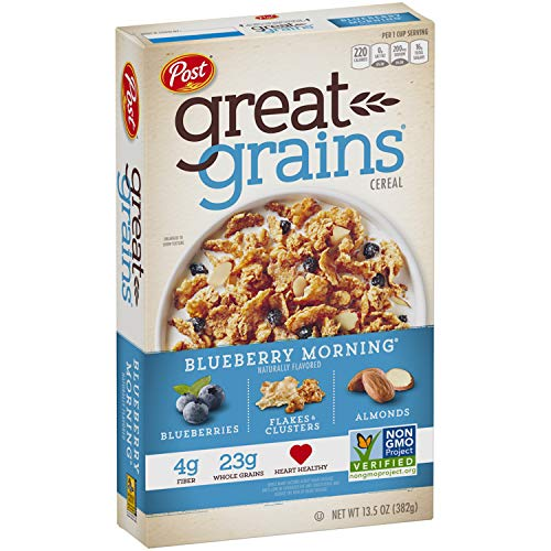 Post Great Grains Blueberry Morning Breakfast Cereal, Non GMO Project Verified, Heart Healthy, Low Fat, Whole Grain Cereal 13.5 Ounce Box