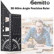 GEMITTO 3D Gehrungswinkel Lineal, Multifunktions Holzbearbeitungswerkzeuge Messen Schablone Winkelmesser Professionelle Tough Aluminium Alloy Set Square Metalllehre für Ingenieure Tischler
