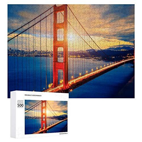 Promini Puzzle de madera de los Estados Unidos Golden Gate Bridge San Francisco Bay Cityscape blanco color16 500 PCS Desafiante Puzzle Juego Divertido Juguetes Familiares Juegos Educativos