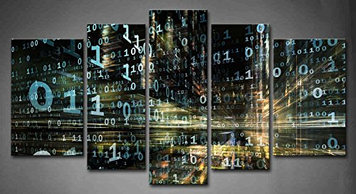 First Wall Art - 5 Panel Wall Art Digital Technology Abstract Design Made Numbers Painting Picture Print On Canvas Abstract Pictures for Home Decor Decoration Stretched by Wooden Frame,Ready to Hang