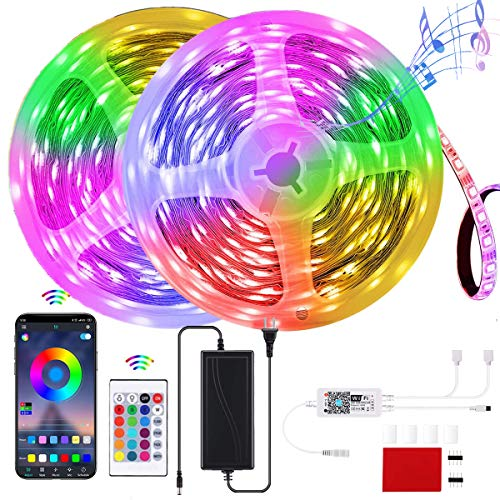 32.8ft/10M LED Strip Lights, GOADROM Smart RGB LEDs Light Rope Lights Music Sync DIY Colors Changing Timing with Remote + APP Bluetooth Controller for Bedroom Home TV Party Christmas