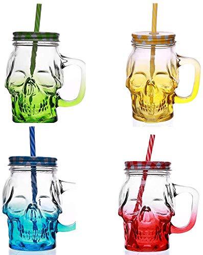 Pack de 2 jarras de skull, vasos calavera con tapa de rosca y pajita reutilizable de 400ml (AMARILLO-ROJO)
